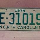 1974 North Carolina Trailer License Plate NC E-31019 VG Unissued