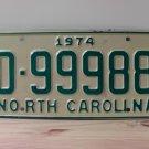 1974 North Carolina Mint YOM Trailer License Plate NC D-99988