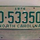 1974 North Carolina Mint YOM Trailer License Plate NC D-53350