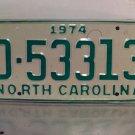 1974 North Carolina Mint YOM Trailer License Plate NC D-53313