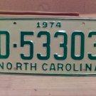 1974 North Carolina Mint YOM Trailer License Plate NC D-53303