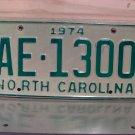 1974 North Carolina YOM Truck License Plate Tag NC AE-1300