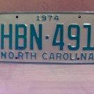 1974 North Carolina EX YOM Passenger License Plate NC HBN-491