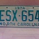 1974 North Carolina EX YOM Passenger License Plate NC ESX-654