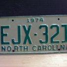 1974 North Carolina EX YOM Passenger License Plate NC EJX-321