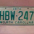 1974 North Carolina Mint License Plate Tag NC #HBW-247