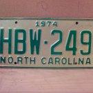 1974 North Carolina Mint License Plate Tag NC #HBW-249