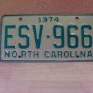 1974 North Carolina EX YOM License Plate Tag NC ESV-966