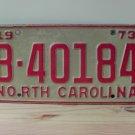 1973 North Carolina NC Trailer License Plate Tag #B-40184