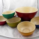 VIETNAM bamboo bowl set bowls wood salad soup blue wooden FREE SHIPPING 7 PIECE