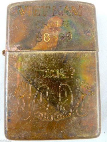 Vietnam War vintage cigarette cigarettes lighter lighters case 68 69 TOUCHE FEET