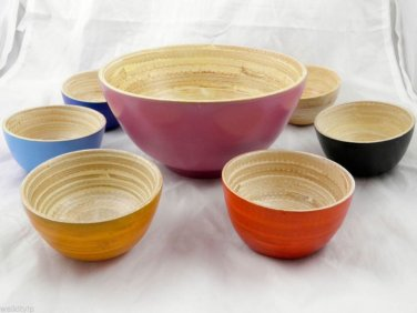 VIETNAM bamboo bowl set bowls wood salad soup blue wooden serving tray 7 PIECE 3