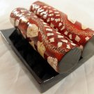 Card Deco Holder Business Art Credit One Red Wood i d Vintage Display Stand a b