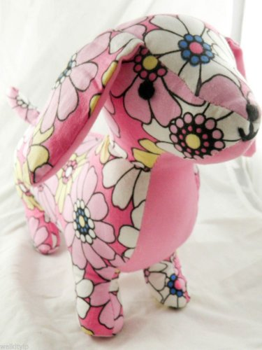 Doxie Plush Dog Dachshund Puppy Lovers new pink toy flower rare Long Body baby a