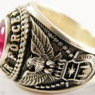 Ring Vietnam War Silver Stone Red Us Strong Men Army Ruby 925er Air Force sterl