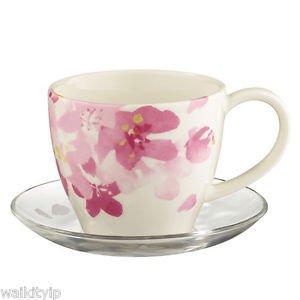 2016 Starbucks Sakura Cherry Blossom Gift New Mug Glass Saucer Set Limited rare