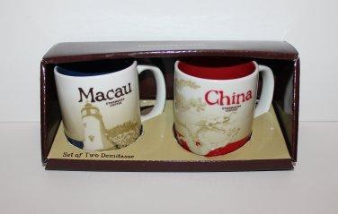 Starbucks Set of 2 Two Global Icon Series Macau & China Demitasse Demi Espres...