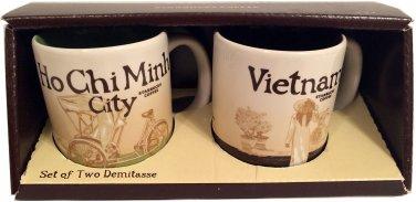 New Starbucks Coffee Set of 2 Demitasse Mugs City Collector Series Ho Chi Min...