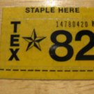 1982 TEXAS LICENSE PLATE RENEWAL STICKER