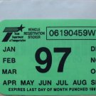 "1997 ORIGINAL TEXAS PLATE RENEWAL WINDSHIELD STICKER""UNUSED"""