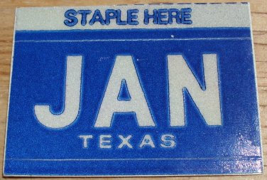 "TEXAS MONTH PLATE STICKER""JANUARY"""