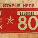 1980 TEXAS PLATE RENEWAL STICKER