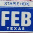 "TEXAS MONTH PLATE STICKER""FEBURARY"""