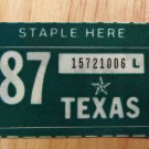 1987 TEXAS PLATE RENEWAL STICKER