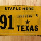 1991 TEXAS PLATE RENEWAL STICKER