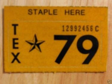 1979 TEXAS PLATE RENEWAL STICKER
