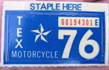 1976 TEXAS MOTORCYCLE LICENSE PLATE RENEWAL STICKER