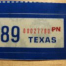 1989 TEXAS PLATE RENEWAL STICKER FOR PERSONALIZED PLATE