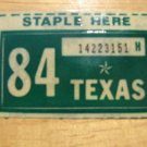 1984 TEXAS LICENSE PLATE RENEWAL STICKER
