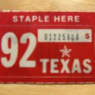 1992 TEXAS PLATE RENEWAL STICKER PASSENGER CAR