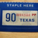 1990 TEXAS LICENSE PLATE RENEWAL STICKER PERSONALIZED