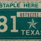 1981 TEXAS LICENSE PLATE RENEWAL STICKER