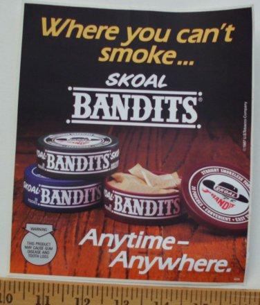 """VINTAGE 1987  SKOAL BANDITS  DOOR/COUNTER DECAL 6X7"""""""