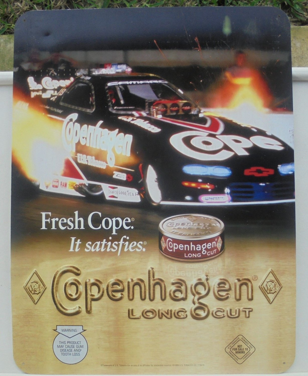 "COPENHAGEN LONG CUT""FUNNY CAR"" RACING METAL SIGN 1999"