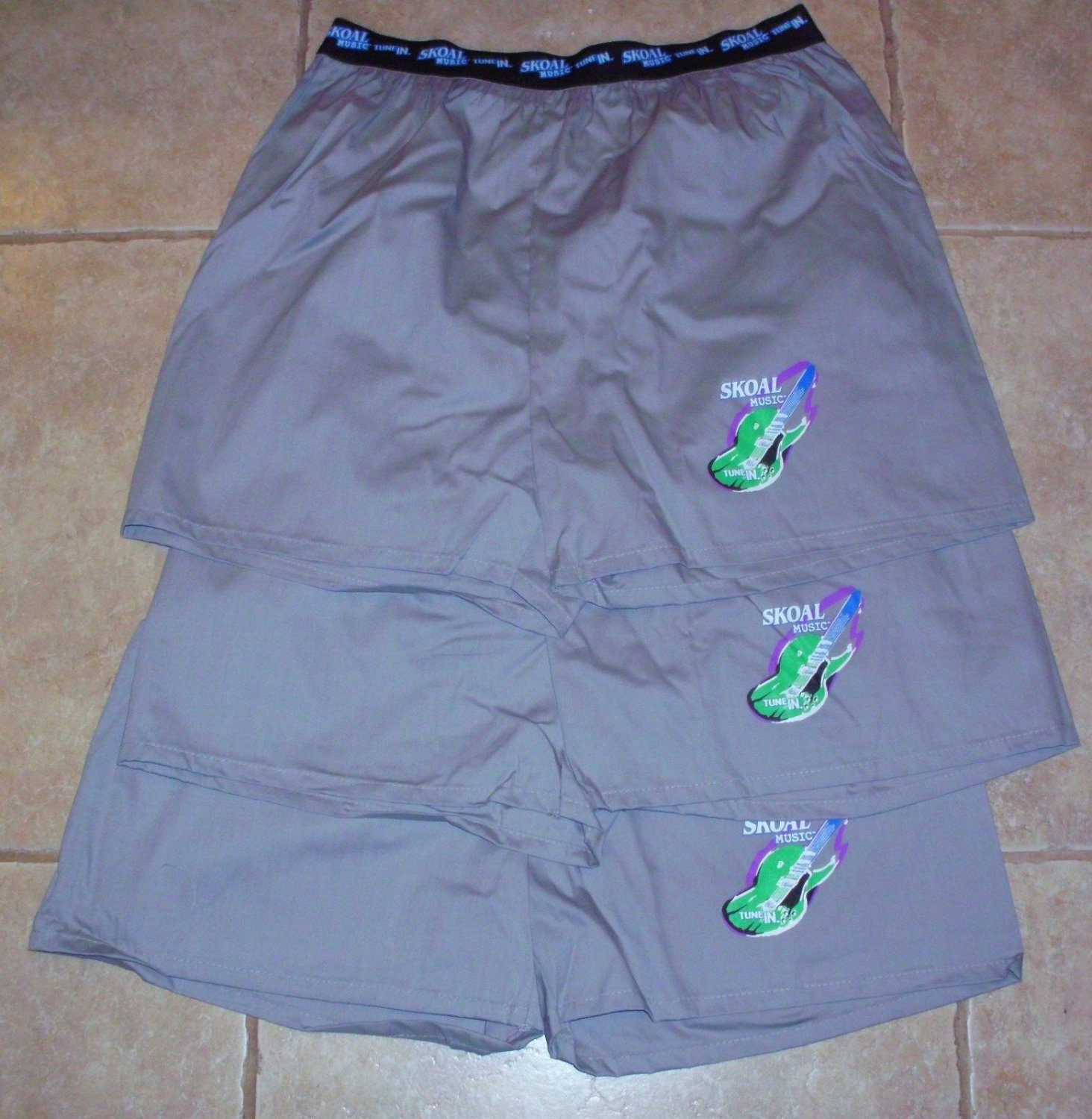 """3-PAIR! SKOAL MUSIC """"TUNE IN"""" BOXER SHORTS NEW/UNUSED GRAY"""