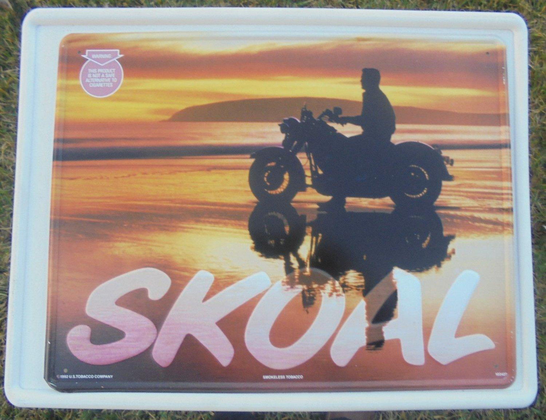 1992 SKOAL MOTORCYCLE/BEACH METAL SIGN