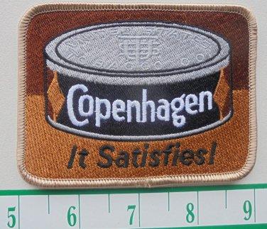 "VINTAGE COPENHAGEN ""IT SATISFIES"" CLOTH IRON-ON PATCH 4""X3"""