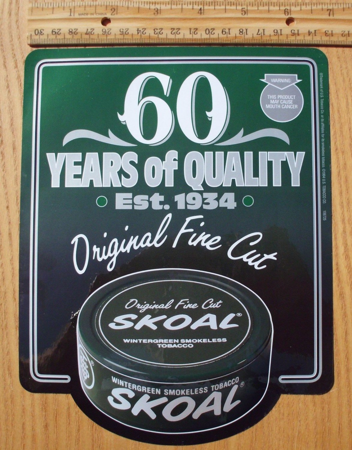 """SKOAL """"60 YEARS OF QUALITY"""" FRONT/BACK ENTRY DOOR DECAL 1994"""