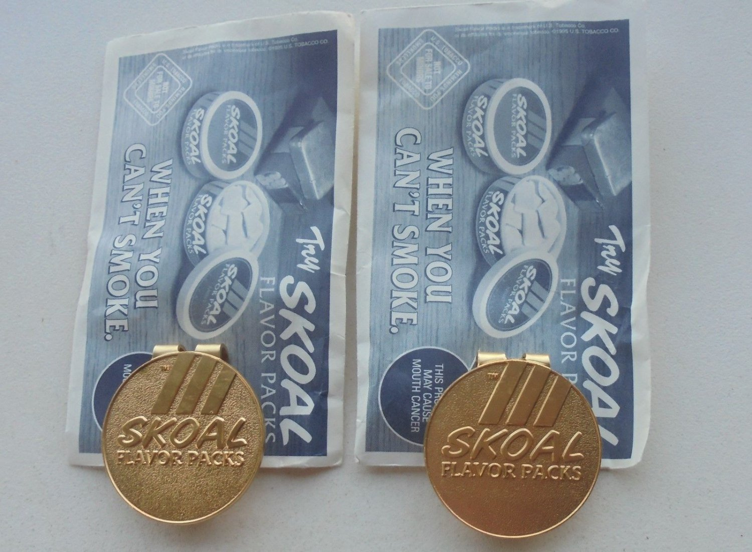 2-SKOAL FLAVOR PACKS MONEY CLIPS-NEW IN PKG.