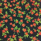 BTY Tiny Red Flowers on Black Cotton Fabric-By the Yard sewing supplies