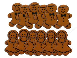 Mr and Mrs Gingerbread Cookies novelty Buttons - Plastic Buttons