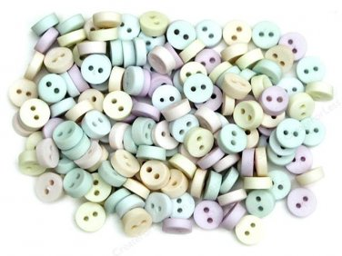 Mini Pastel Plastic Buttons - Sewing Craft Supplies