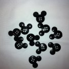 Mickey Mouse Black Plastic Buttons - Sewing Craft Supplies