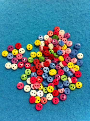 Mini Mini Mini MulticolorPlastic  Buttons- Sewing Craft Supplies