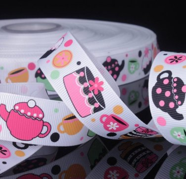 Teapot Cupcake Printed Grosgrain Ribbon- DIY Craft Supplies