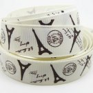 "Paris Brown Eiffel Tower on Ivory Printed Grosgrain Ribbon/DIY/3YARDS/5/8"" WIDTH"